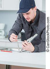 water, repareren, installatiebedrijf, kraan, keuken