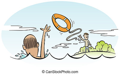 Water Rescue - A cartoon man rescues a drowning man.