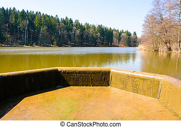Overflow of water in the lake