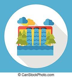 water reservoir flat icon