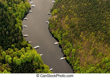 Water reservoir Slapy, Czech Republic. Aerial view