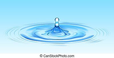 water ripple - illustration drawing of beautiful blue water...