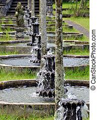 water, roeien, tirtagangga, fonteinen, tempel