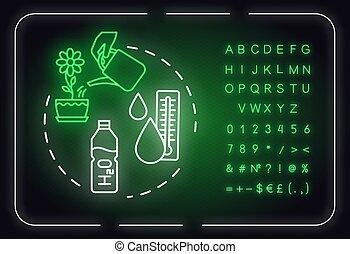 Water room temperature neon light concept icon. Appropriate ...