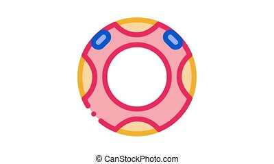 water rubber ring Icon Animation. color water rubber ring animated icon on white background