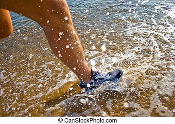 Water Run - Photograph taken on beach of Greece during a run...