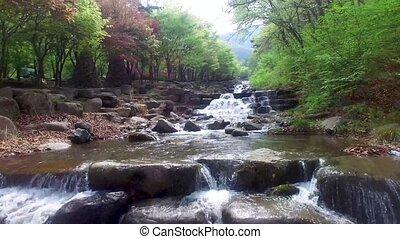 Water running down the valley of Biseul Mountain, Daegu, South Korea, Asia