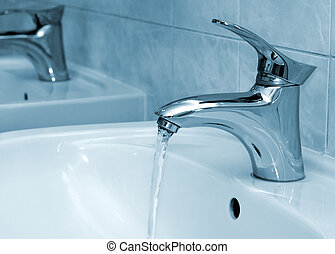 Water running from a faucet