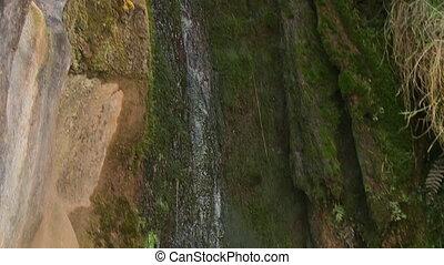 Water running through a mouldy rock - A tilting close up...