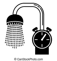 Water save bathroom icon, simple style