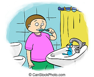 child brushes their teeth, shut off the tap
