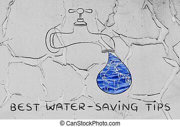 water-saving, gouttelette, robinet, tips:, image, eau, mondiale, fill), mieux, (with