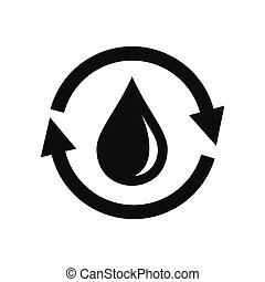 Water saving icon, simple style