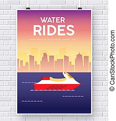 Water Scooter illustration on brick wall background concept