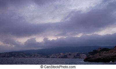 Water sea city cloud landscape - Time Lapse mountain city...