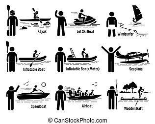 Vector set of water recreational vehicles that includes kayak, jet ski boat, windsurfer, inflatable boat, motorboat, seaplane, motorboat, airboat, and wooden raft.