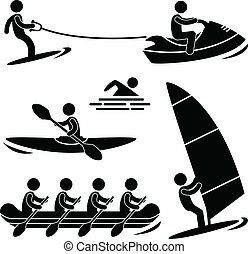 Water Sea Sport Skurfing Rafting - A set of pictogram about ...