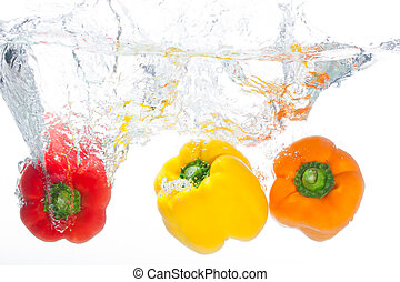The cleaning of the peppers before used.