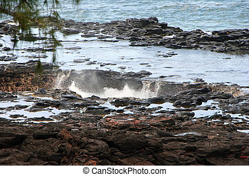 Spouting Horn Blowhole - Water Shooting Upward From Spouting...