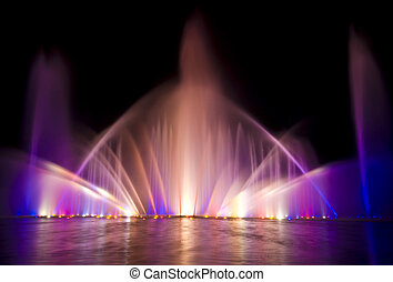 beautiful show with fountains and music in Planten un Blomen, Hamburg