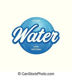 Water sign vintage lettering blue