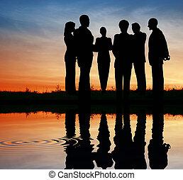 water, silhouette, team., ondergaande zon , zakelijk