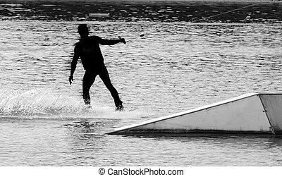Water ski silhouette black and white photography