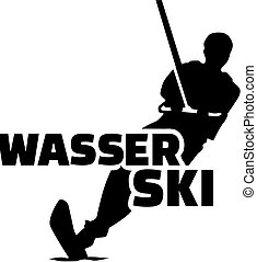 Water ski silhouette with german word