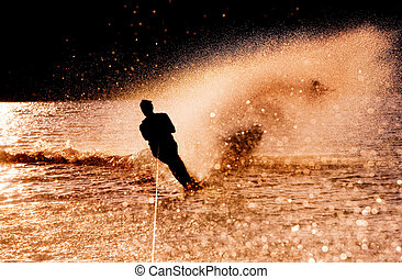 Water Skier Silhouette - Silhouette of a water skier