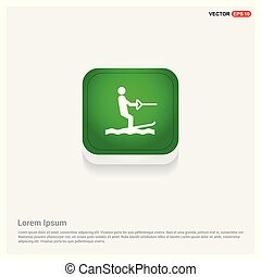 Water Skiing Icon Green Web Button