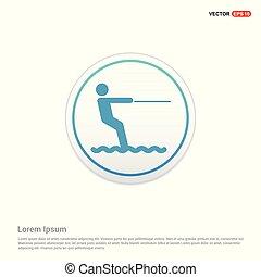 Water Skiing Icon - white circle button