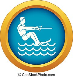 Water skiing man icon blue vector isolated