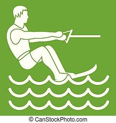 Water skiing man icon green