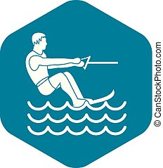 Water skiing man icon, simple style