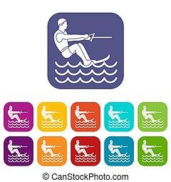 Water skiing man icons set
