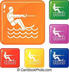 Water skiing man icons set vector color