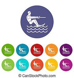Water skiing man set icons