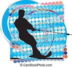 Water skiing man. vector illustration