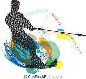 Water skiing man. vector illustrati