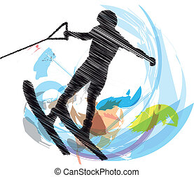 Water skiing man. vector