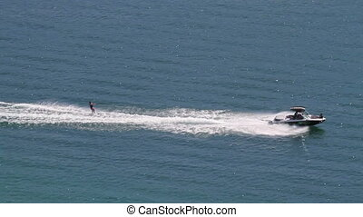 Water Skiing - Water skiing on summer lake