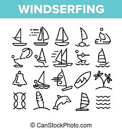 Water Skiing, Windsurfing Linear Vector Icons Set