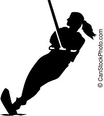 Water skiing woman silhouette