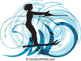 Water skiing woman. vector