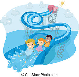 Water Slide Loop - Illustration of Kids Happily Sliding Down...