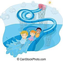 Water Slide Loop - Illustration of Kids Happily Sliding Down...