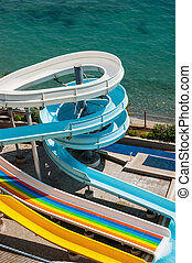 water slide on the beach