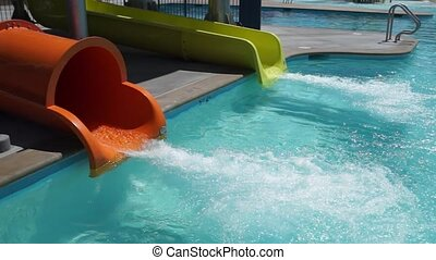 Water Slide Pool Base - The base of the water slides at a...