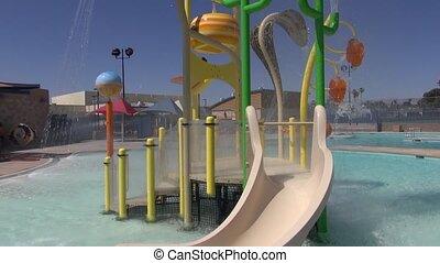 Water Slide Pool Summer - Camera rotates 180 degrees around...