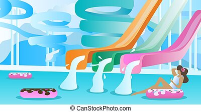 Water slide vector illustration. Swimming pool with pipe and tube park to slide down. Free blank space to enter your own text on background. Inflatable donuts for holiday